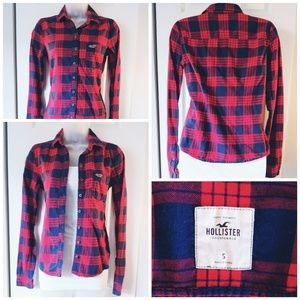 🔵 HOLLISTER Red & Navy Plaid Flannel Button Down